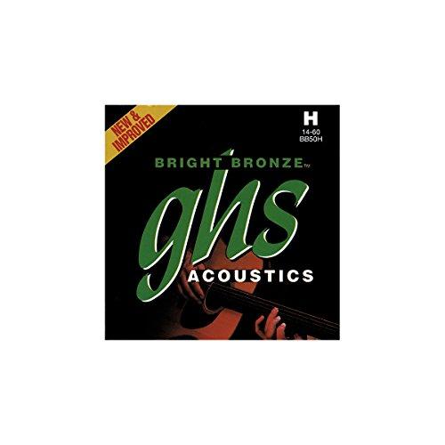 GHS Juego de cuerdas de bronce brillante para guitarra acústica BB50H – pesado – 014/060