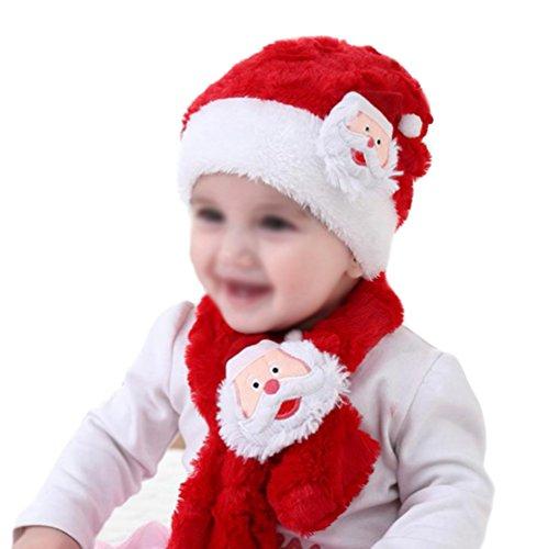 WeiMay bébé chapeau de Noël écharpe ensemble Santa Claus chapeau et écharpe joyeux cadeaux de Noël