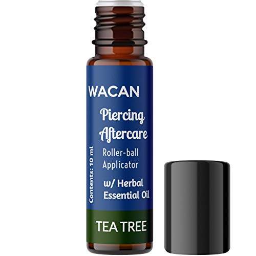 WACAN Piercing Aftercare Oil Solution and Bump Shrinking Treatment in ROLLERBOTTLE with All-natural Carrier Coconut Oil, Organic Herbal Essential Oil, Vitamins A, C, and E Keloid Remover (TEA TREE)