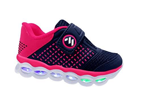 Tênis Infantil Feminino Com Luzes de Led MP1814 - AS109 Cor:Azul Marinho-Pink;Tamanho:26