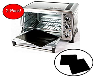 """TWO-PACK 100% Non-Stick 11"""" Toaster Oven Liner. Finally, Prevent Spillovers, Gunk & Odors! Great Teflon Liner for Toaster Ovens, Dishwasher Safe, Best Toaster Oven Accessories"""