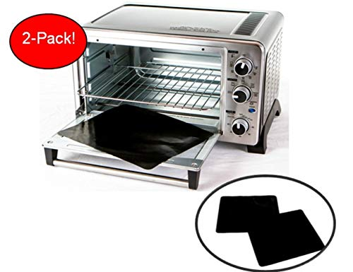 TWO-PACK 100% Non-Stick 11' Toaster Oven Liner. Finally, Prevent Spillovers, Gunk & Odors! Great Teflon Liner for Toaster Ovens, Dishwasher Safe, Best Toaster Oven Accessories. USA!