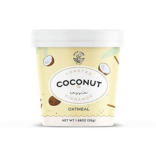 Mylk Labs Gluten Free Instant Oatmeal Cup, Toasted Coconut & Cassia Cinnamon - Vegan, Low Sugar, Non-GMO, Kosher - 6 Pk