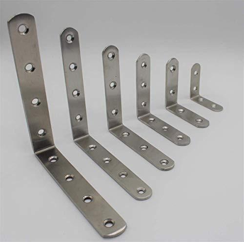 Euro Tische Edelstahl Winkelverbinder Balkenwinkel ideal für Innen- & Außenbereich - Metallwinkel in 6 verschiedenen Größen 5-15cm (2 Stück 8 cm)