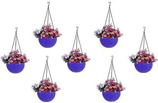 Round Gamla Pot Flower Hanging Round Rattan Woven Plastic Flower Hanging Basket Beautiful Pot for Garden Balcony (7, Pcs, ...