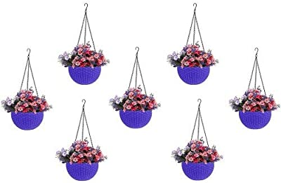Round Gamla Pot Flower Hanging Round Rattan Woven Plastic Flower Hanging Basket Beautiful Pot for Garden Balcony (7, Pcs, Purple Colour)