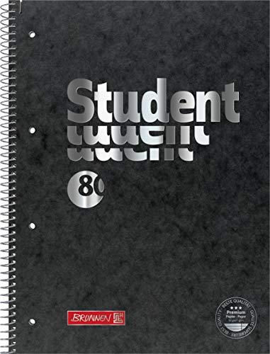 """Brunnen 106782790 Collegeblock Student A4 Liniert, mit Randlinie innen und Außen, LIN. 27 Schwarz Premium """"Pressspan"""" (5 Stück)"""