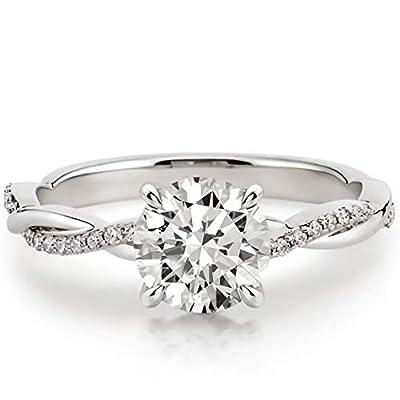 1.16 Carat (ctw) moissanite engagement rings for women - Platinum Plated Silver ring moissanite rings-10