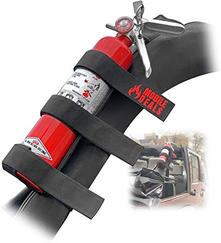 Mobile Deals Jeep Feuerlöscher, verstellbar, Halterung für Wrangler Unlimited, CJ, JK, TJ, Rubicon – langlebiges Gurt, Fahrzeugzubehör