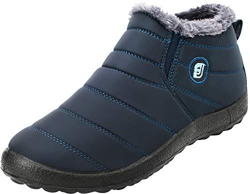 JIASUQI Mode Winter Schneeschuhe Herren Wasserdicht Plüsch Gefüttert Oxford Tuch Vamp Stiefel Blau, 39 EU