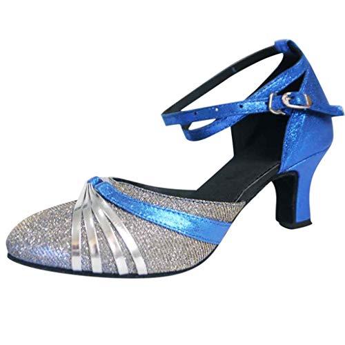 Damen Standard Latein Tanzschuhe Mittelhohe Knöchelriemen Weicher Boden Schlüpfen, Celucke Basic Absatzschuhe Brautschuhe Klassische Pumps Frühling Elegante Schuhe (Blau, EU39)