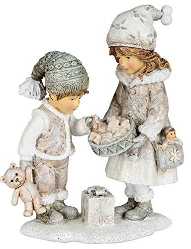 dekojohnson Deko-Figur Winterkinder-Paar Mädchen-Junge Nostalgie Deko Herbstkind Weihnachtsdeko für Innen weiß 8x19cm