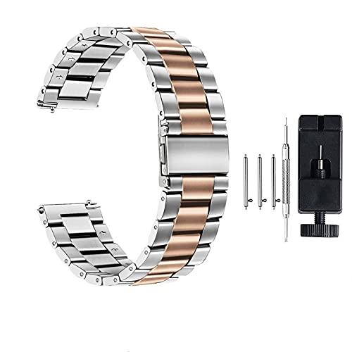Correa de Reloj de Acero Inoxidable 18 mm 22 mm 20 mm 24 mm para Engranaje S S3 S2 para Hua GT 2 Mira 42mm 46 Banda 40 44mm Banda de Relojes de Pulsera