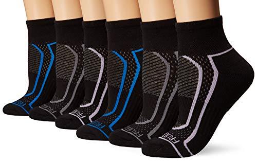 Fruit of the Loom Women's 6-Pair Ankle Socks, Black/Blue, Black/Grey, Black/Lavender, Black/Grey, Black/Blue, Black/Lavender, Shoe Size: 4-10
