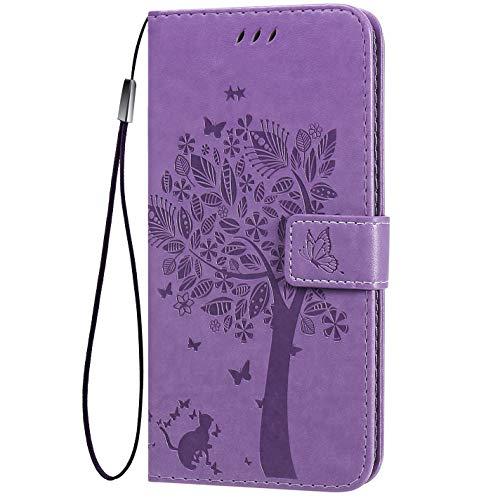 TANYO Flip Tasche Hülle für LG K52 / K62, Schutzhülle Leder Klapptasche mit Kartenfächer, 3D Katze Baum Muster Folio Handytasche Handyhülle - Helles Lila