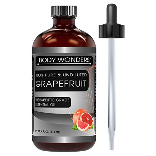 Body Wonders Grapefruit Essential Oil 4 Oz. Bottle 100% Pure, Undiluted Therapeutic Grade Oils Ideal for Aromatherapy & Diffusers Great Quality Great Value!