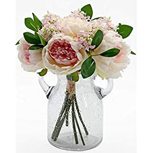 Springs Flowers Artificial Silk Peony Bouquets Wedding Home Decoration (Pink Mix Champagne)