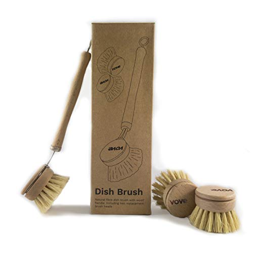 Vove | Premium Wooden Dish Brush | with 3 Replacement Heads | Natural Fibre | Eco-Friendly |