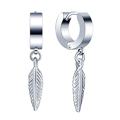 Limok - Orecchini a cerchio da uomo e donna in acciaio inox, con pendente a forma di ancora, in argento e Acciaio inossidabile, colore: Argento C, cod. FL0050-C