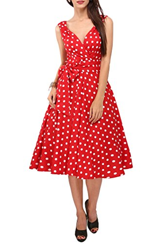 Miss Lavish London Damen Kleid 40er 50er Swing Style Vintage Rockabilly Damen Retro Abschlussball Party Plus-Größe Kleid, 22, rot