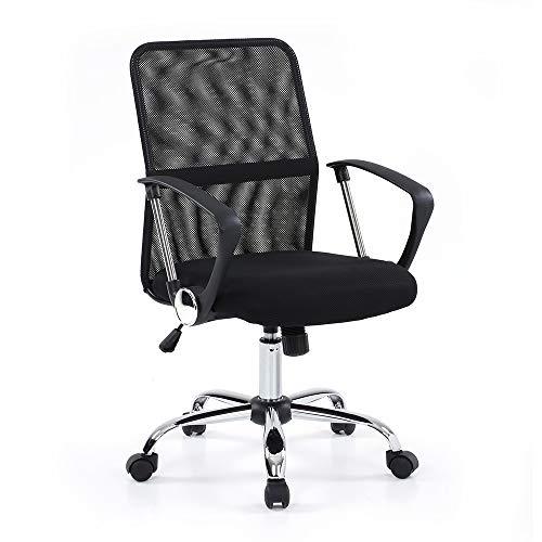IKAYAA Sedia da Scrivania Ufficio in Mesh Design Ergonomico Computer Sedia Mobile da Ufficio con Braccioli e Rotelle Altezza Regolabile