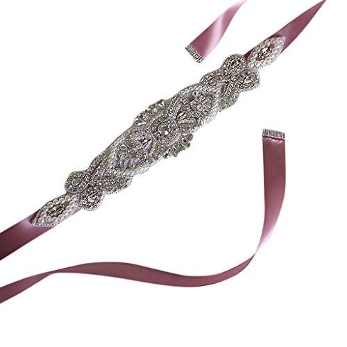 Exing Schleifenband für Hochzeitskleid, Strass, Satinband, Brautkleid, aus Spitze Nude Pink