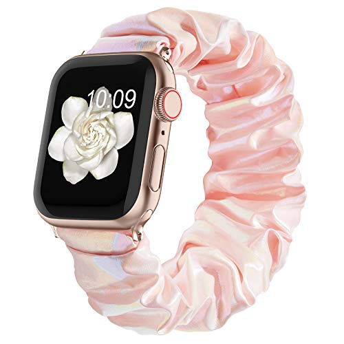 Compatible with Scrunchie Apple Watch Bands 38mm 40mm 42mm 44mm for Women Girl, Canvas Scrunchy Elastic Stretch Glitter Cloth Bracelet Strap for iWatch Series 6 5 4 3 2 1 Se, Pink 42/44mm Small