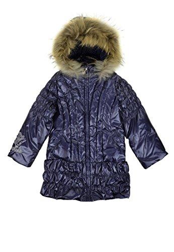 Pampolina Mädchen Daunen Mantel Mit Kapuze Echtfell Blau 98