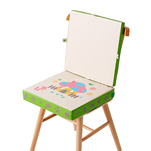 MJLOMJ Rialzo Sedia per Bambini Portatile Lavabile Pelle Rialzo per Sedia da Pranzo Antiscivolo Rimovibile 2 in 1 Cuscino per Tavolo da Pranzo per Bambini con Fibbia di Sicurezza