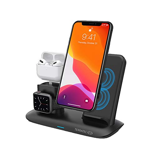 TerraTec ChargeAIR All Desk Pro Wireless Charger Ladepad, Kabellose 15W QI Ladestation, Kompatibel mit 12/11/11 Pro/11 Pro Max/XS MAX/XR/XS/X/8/8+, Galaxy Note 10/S10e/S10/S9