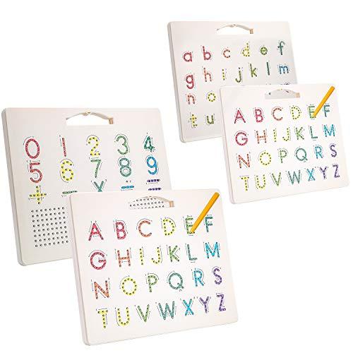 [2 Piezas] Hautton Tablero Magnético de Abecedario para Niños, Letras de A a Z (Mayúscula/Minúscula), Juguete Educativo Aprendizaje Temprano Escritura de Alfabeto para Pequeños Preescolares