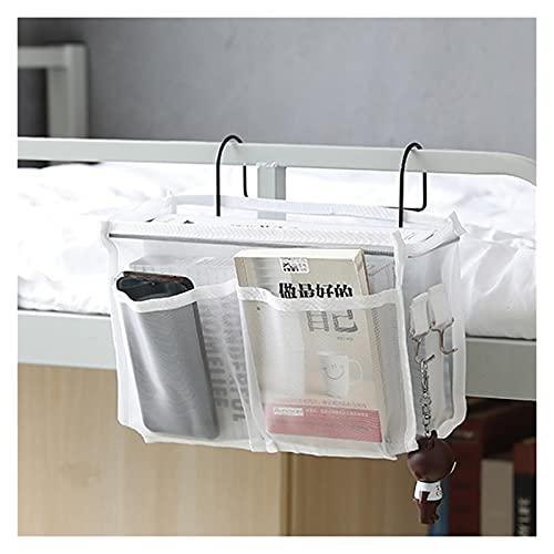 ONETOTOP Lienzo Trasero Colgando Bolsillo Bolsa de Almacenamiento Dormitorio Revista Almacenamiento Bolsa pañal Caddy Juguete Tenedor bebé Tejido Caja casero Organizador (Color : Mesh Style White)