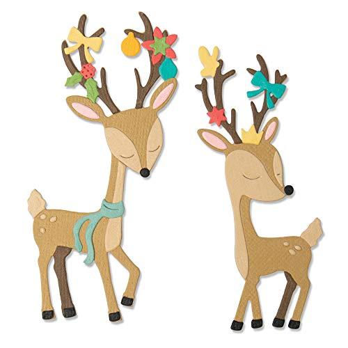 Sizzix Die 10PK Christmas Deer Set di Fustelle Thinlits 10 pz 664448 Renna Natalizia by Jen Long, Taglia unica
