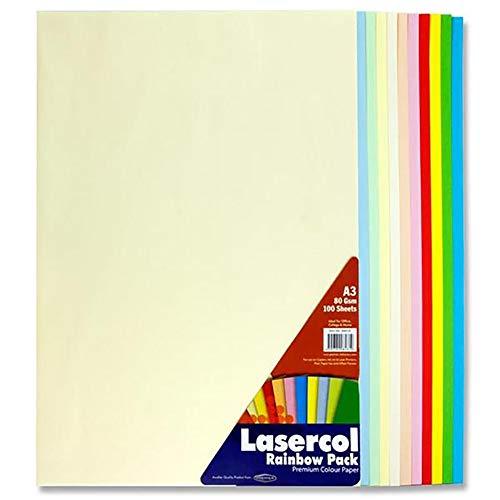 Premier Stationery Lasercol-Kopierpapier, A3, 80g/m², 1 Pack à 100Blatt in Pastellregenbogenfarben