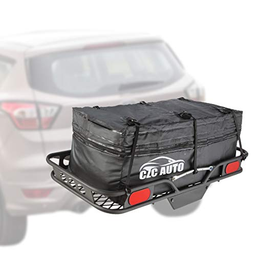 CZC AUTO Expandable Hitch Cargo Carrier Bag 9.5 cu. ft Extends to 11.6 cu. ft, Waterproof/Rainproof/Weatherproof, for Car Truck SUV Vans' Hitch Trays Hitch Baskets, Safe Steady Durable Soft Black
