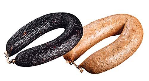 Hausmacher Blutwurst & Leberwurst im Paket (760g) - je ein Ring, handwerkliche Herstellung, Hausschlachtung - herzhaft, aromatisch & deftig