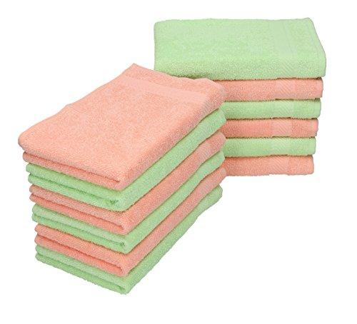 Set de 12 toallas bidet infantil tamaño 30x50cm 100% algodón en Color verde y apricot