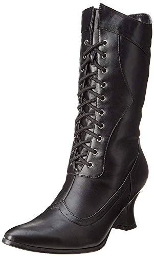 Ellie Shoes Women's Amelia Victorian Boots Black Polyurethane Vintage Ankle Boot with Zipper 9 B(M) US