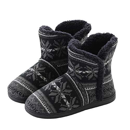 pantofole donna alte AONEGOLD Pantofole da Casa Morbido Antiscivolo Peluche Autunno Inverno per Donna/Uomo(Nero