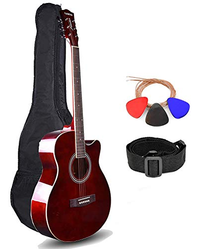 Kadence Frontier Series Acoustic Guitar with Truss Rod, Brown, Die Cast Keys Combo (Bag, 1 pack Strings, Strap and Picks)