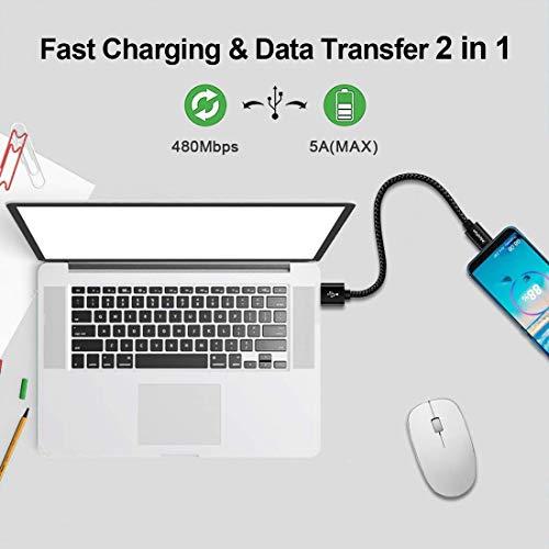 CLEEFUN USB C Kabel Kurz [0.3M 2Stück], Nylon Typ C Ladekabel Schnellladekabel Datenkabel für Samsung Galaxy S10e S10 S9 S8 Plus, A20e A40 A50 A51 A71, Note 10 9 8, M20 M30S, Moto G7 G8, Xperia XZ