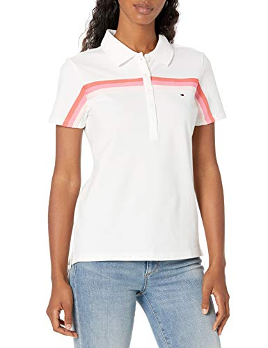 Tommy Hilfiger Damen Half Zip Popover Shirt Poloshirt, Bright White, Mittel