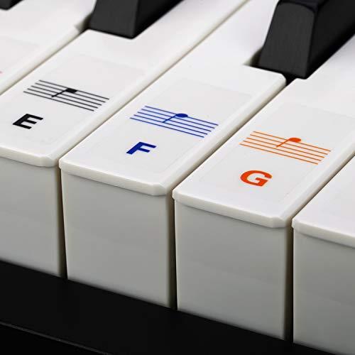 Reditmo Klavier Aufkleber, Keyboard Aufkleber Noten Aufkleber für 37/49/54/61/88 Tasten, Farbige Piano Keyboard Sticker, Komplettsatz für Schwarze/Weiße Tasten