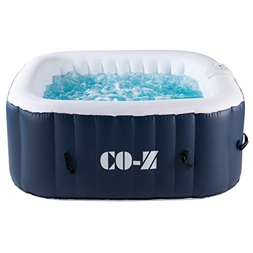 CO-Z Aufblasbarer Whirlpool für 4 Personen Spa Pool 1,5x1,5m Indoor Outdoor Pool 120 Massagedüsen Heizung 600 Liter mit Luftpumpe für Patio, Hinterhof, Garten (1,5x1,5 m)