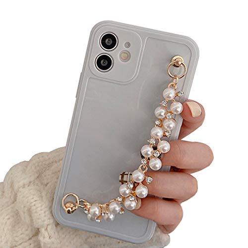 AQUYY Teléfono Carcasa para iPhone 12, Funda Protectora con Cadena de Muñeca de Diamantes de Imitación de Perlas para iPhone 12, Funda de TPU Suave Antigolpe Anticaída para Mujeres Niñas, Gray