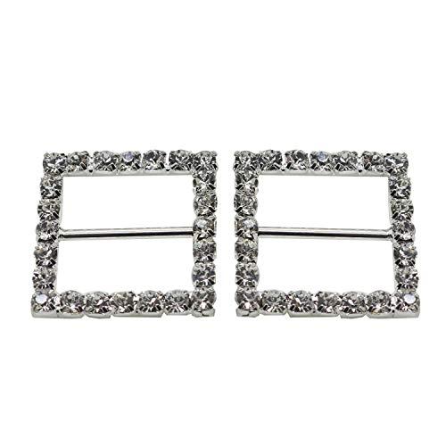 Quadrat mit Strass Kristall Diamant Schnalle Slider Verzierungen für Bänder Party Einladungen Hochzeit Karten oder Briefe Fashion Zubehör-26mm x 26mm (ca.)-144, farblos, Set of 25