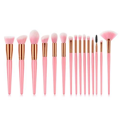 15 Maquillage Pinceau Maquillage Outils Lâche Ventilateur Poudre Forme Poudre Poignée Manche De Café Beauté