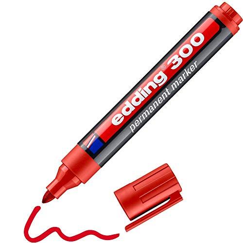Edding 300 marcador permanente - rojo - 1 rotulador- punta redonda 1.5-3 mm - resistente al agua, de secado rápido, rotuladores indelebles - para cartón, plástico, vidrio, madera, metal