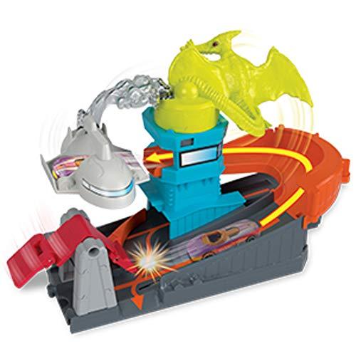 Hot Wheels City Dino-Ataque al Aeropuerto, Pistas de Coches de Juguetes niños +4 años (Mattel GBF94)
