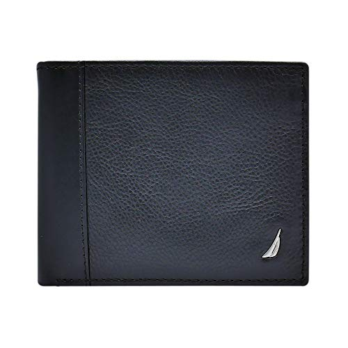 Nautica Men's Leather Passcase Wallet with Large Bill Compartment and ID Window, Black, One size